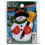 """3""""X4"""" - Snowman & Broom Ornament Felt Applique Kit"""