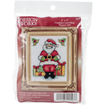 "3""X4"" 18 Count - Santa W/Frame Mini Counted Cross Stitch Kit"