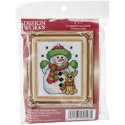 """3""""X4"""" 18 Count - Snowman W/Frame Mini Counted Cross Stitch Kit"""