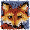 Mr. Fox - Wonderart Latch Hook Kit 8 X8  Spinrite-Wonderart Latch Hook Kit. These extra shaggy rugs are wonderfully lush and can be made to fit any decor motif. The possibilities are astounding, you can use them on the floor, wall, sofa, bed, window or even make them into pillows and seat cushions. They are easy to make, it would be a wonderful family project! This package contains color coded canvas (50% polyester/50% cotton), pre-cut acrylic rug yarn, a chart and instructions. Hook tool and finishing materials are not included. Finished Size: 8x8 inches. Design: Mr. Fox. Made in USA.