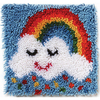 Rainbow Sprinkles - Wonderart Latch Hook Kit 12 X12  Spinrite-Wonderart Latch Hook Kit. These extra shaggy rugs are wonderfully lush and can be made to fit any decor motif. The possibilities are astounding, you can use them on the floor, wall, sofa, bed, window or even make them into pillows and seat cushions. They are easy to make, it would be a wonderful family project! This package contains color coded canvas (50% polyester/50% cotton), pre-cut acrylic rug yarn, a chart and instructions. Hook tool and finishing materials are not included. Finished Size: 12x12 inches. Design: Rainbow Sprinkles. Made in USA.