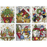 "3.5""X4"" 14 Count Set Of 6 - Home For Christmas Ornaments Counted Cross Stitch Kit"