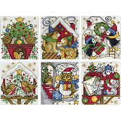 """3.5""""X4"""" 14 Count Set Of 6 - Home For Christmas Ornaments Counted Cross Stitch Kit"""