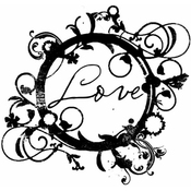 """Floral Love Circle - Gourmet Rubber Stamps Cling Stamps 2.75""""X4.75"""""""