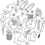 """Spring Season Images Background - Gourmet Rubber Stamps Cling Stamps 6.5""""X6.5"""""""