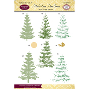 """Multi-Step Pine Trees - JustRite Papercraft Clear Stamps 4""""X6"""""""