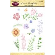 "Create A Flower Garden - JustRite Papercraft Clear Stamps 4""X6"""