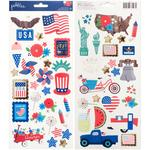 America The Beautiful Cardstock Stickers - Pebbles