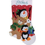 "18"" Long - Holiday Friends Stocking Felt Applique Kit"