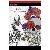 """Skulls - Trends Coloring Pad 11""""X17"""""""