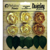 Yellow - Darjeeling Mini Garden Rosettes 1  6/Pkg Petaloo-Darjeeling Mini Garden Rosettes. The perfect addition to craft projects, home decor and more! This package contains six 1 inch round rosettes and six 1-1/4x1/2 inch leaves. Comes in a variety of colors. Each sold separately. Imported.