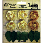 """Yellow - Darjeeling Mini Garden Rosettes 1"""" 6/Pkg"""