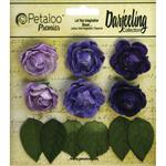 "Purple - Darjeeling Mini Garden Rosettes 1"" 6/Pkg"