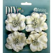 "White - DIY Paintables Darjeeling Ruffled Roses 2"" 4/Pkg"