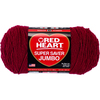 Burgundy - Red Heart Super Saver Yarn Red Heart-Super Saver Jumbo Yarn. This medium weight has been America's bestselling yarn for over seventy years! Perfect for all knit and crochet projects. Weight category: 4. Content Solids Heather & Multi: 100% acrylic. Putup Multi & Heather: 10oz/283g, 482yd/440m. Putup Solids: 14oz/396g, 744yd/680m. Gauge: 17stx23r= 4in/10cm on size US8/5mm knitting needles. Suggested crochet hook size I9/5.5mm hook. Multi & Heather Dyelotted: We try but are not always able to match dyelots. Solids are not Dyelotted. Care: machine wash, tumble dry, do not bleach, do not iron, dry cleanable. Made in USA.