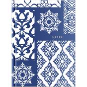 "French Blues Hardbound Notebook 7""X9.5"" - Blue Pattern"