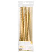 Gold Solid - Details Foiled Paper Straws 24/Pkg