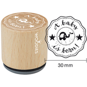 """A Baby Is Born - Woodies Mounted Rubber Stamp 1.35"""""""