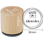 """Thanks - Woodies Mounted Rubber Stamp 1.35"""""""