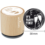 It's Party Time - Woodies Mounted Rubber Stamp 1.35""