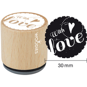 With Love - Woodies Mounted Rubber Stamp 1.35""