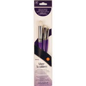 Dome Round  - Silver Scrubber Stiff Synthetic Brush Set 3/Pkg