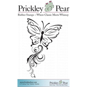 "Butterfly With Flourish Trail - Prickley Pear Cling Stamps 2""X1.75"""