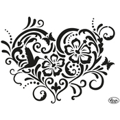 "Flower Heart - Viva Decor Universal Stencil 8.27""X11.69"""