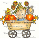 "Scarecrow Wagon - Whipper Snapper Cling Stamp 4""X6"""