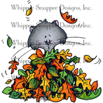"""Fall Fun Kitty - Whipper Snapper Cling Stamp 4""""X6"""""""