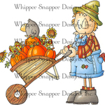 """Scarecrow Gardening - Whipper Snapper Cling Stamp 4""""X6"""""""