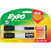 Black - Magnetic Dry Erase Chisel Marker With Eraser 2/Pkg