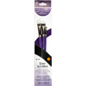 Oval Filbert - Silver Scrubber Stiff Synthetic Brush Set 3/Pkg