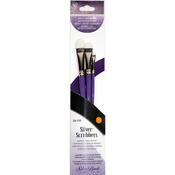 Oval Filbert - Silver Scrubber Stiff Synthetic Brush Set 3/Pkg