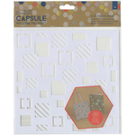 "Squares - Papermania Geometric Kraft Adhesive Stencil 8""X8"""