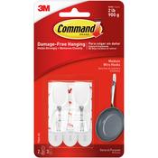 2 White Hooks & 3 Strips - Command Medium Wire Hook 2/Pkg