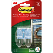 2 Clear Hooks & 2 Strips - Command Medium Outdoor Window Hook 2/Pkg