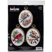 """3""""X4"""" Stitched In Floss - Winter Birds Embroidery Kit Set Of 3"""