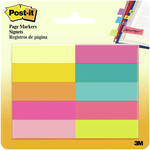 """Assorted Bright - Post-It Page Markers .5""""X1.75"""" 10/Pkg"""
