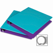 """Turquoise/Purple - Fashion Color Two-Tone Round Ring View Binder 1"""" 2/Pkg"""