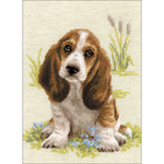 """10.25""""X15"""" 10 Count - Basset Hound Puppy Counted Cross Stitch Kit"""