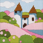 """4.75""""X4.75"""" 10 Count - Pink Garden Counted Cross Stitch Kit"""