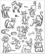 Mini Cats & Dogs Tim Holtz Cling Rubber Stamp