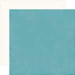 Teal / White Coordinating Solid Paper - I Love Winter - Echo Park