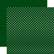 Dark Green Silver Foil Dot Paper - Echo Park
