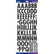 Black & Silver Foil Dot Futura Dimension Stickers - Sticko