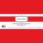 Scarlet Red Felt Designer Cardstock - Carta Bella