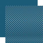 Medium Blue Silver Foil Dot Paper - Echo Park