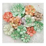 Holiday Greetings Flowers, 12/pkg - Sweet Peppermint - Prima
