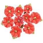 Papaya Flowers W/Beads & Flocking 9/Pkg - Prima
